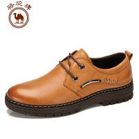 骆驼牌新款男士日常休闲鞋男皮鞋系带韩版男鞋子耐磨男低帮鞋