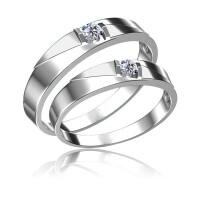梦克拉 白18K金钻石对戒 相遇 求婚戒男戒女戒 创意礼品