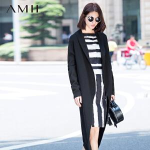 【AMII超级大牌日】[极简主义]2017年春新品时尚艺术帅气翻领开衫大码毛衣女11591334