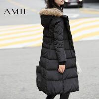 【AMII超级大牌日】[极简主义]2016冬季新款大毛领连帽修身中长款加厚羽绒服女士
