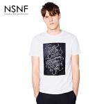 NSNF纯棉黑板图案植绒白色短袖T恤 2017年春夏新款
