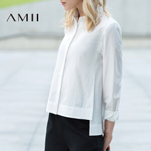 Amii[极简主义] 2017年春新品翻领暗襟开衩长袖大码衬衫女11672006