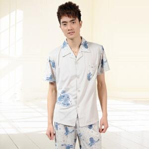 金丰田夏男士针织两件套 可爱卡通短袖睡衣家居服套装1560