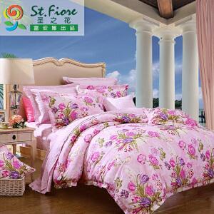 [当当自营]富安娜家纺纯棉四件套1.5米1.8米床印花套件 香韵清风 粉色 1.8m