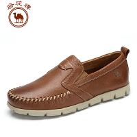 骆驼牌男鞋 头层牛皮日常休闲皮鞋春秋套脚男士鞋