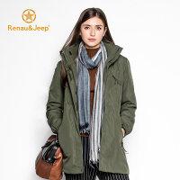 Renau&jeep2016青春潮牌秋冬新款都市休闲时尚风衣 保暖防水青年两件套中长款男女夹克外套