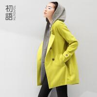 初语冬季新款 假两件连帽内里戗驳领中长H型毛呢大衣女8431224022