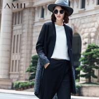【AMII超级大牌日】[极简主义]2016秋冬新品帅气修身倾斜拼接毛呢外套女11591708