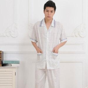 金丰田男士短袖睡衣 夏季男式棉质格子 棉布家居服套装1041