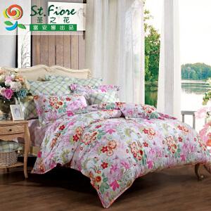 [当当自营]富安娜家纺纯棉四件套1.5米1.8米床印花套件 玉颜琼花 绿色 1.8m