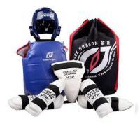 儿童加厚跆拳道护具全套五件套头盔武术搏击粘扣式护具蓝色