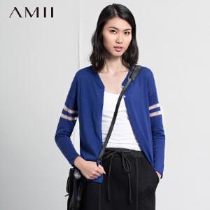 【AMII超级大牌日】[极简主义]2016春V领棉麻透视条纹薄款长袖针织开衫11620177
