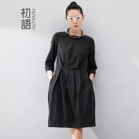 初语冬季新款 黑色显瘦七分袖英伦冬装大码连衣裙女8432412040