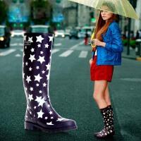 女士雨靴时尚星星高筒优质全橡胶女式雨鞋繁星水鞋