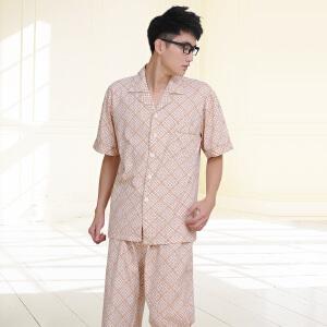 金丰田 男士短袖睡衣 夏季格子家居服套装1208