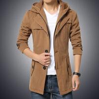 新款秋冬男士中长款毛呢外套男士修身连帽可脱卸风衣