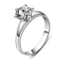 梦克拉 白18K金钻石戒指钻戒女戒6爪30分钻石结婚求婚情侣女款婚戒缘美 创意礼品