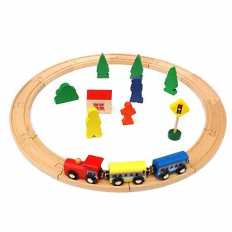 益智积木 一点 木制玩具 进口榉木 25件简易版圆形火车轨道