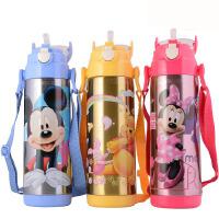 包邮!迪士尼 5654米奇保温杯吸管杯儿童吸管壶480ML防漏背带水壶 四色选!