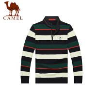 CAMEL 骆驼男装  秋新款休闲翻领毛衣 男士长袖羊毛衫