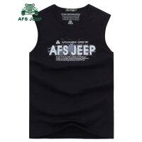 战地吉普AFS JEEP2016夏季新款男士背心 男装字母健身纯棉背心 户外运动休闲汗背心