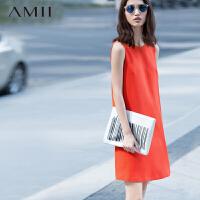 【AMII超级大牌日】[极简主义]2016夏新品简洁通勤肌理感大码纯色背心连衣裙11580283