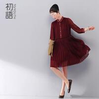初语 冬装新款 风琴褶大摆型中裙 立领七分袖连衣裙8422412075