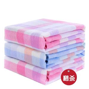 【领券立减50元】优雅100 纯棉方格纱布面巾3条装-2粉+1蓝色/粉色 毛巾 方巾 面巾