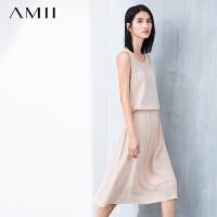 【AMII超级大牌日】[极简主义]2016夏新品修身几何镂空松紧腰大码连衣裙11670078