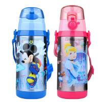 包邮 迪士尼 双盖儿童保温壶 吸管盖+直饮盖 350ML 背带式水杯子5724