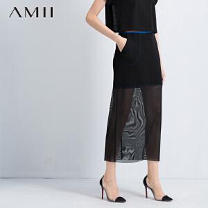 【AMII超级大牌日】[极简主义]2017年春撞色织带拼接透视网眼修身包臀大码半身裙11571268