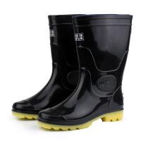 男款雨靴中筒雨靴劳保雨鞋黑色水鞋套鞋防水鞋防滑防水耐磨水靴