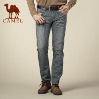 骆驼男装牛仔裤 夏装 商务休闲纯棉竖条纹男裤子