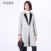 【AMII超级大牌日】[极简主义]2017年春撞色西装翻领大码呢料外套11571777