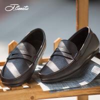 宾度男鞋商务休闲鞋春季新品皮鞋牛皮英伦男士平跟套脚爸爸鞋