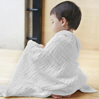 [当当自营]三利 纯棉纱布 A类标准 婴儿浴巾 柔软舒适毛巾被 吸湿透气裹巾抱被 新生儿盖毯 原白色