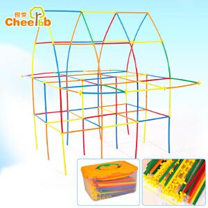 橙爱 建筑师拼搭积木 五彩塑料吸管拼插积木 塑料拼装 儿童益智玩具