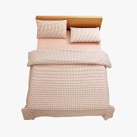 当当优品家纺 纯棉日式色织水洗棉床品 1.5米床 床笠四件套 格子薄粉