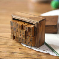 经典复古带木盒印章 木质英文字母印章 大小写两款