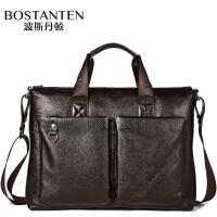 (可礼品卡支付)波斯丹顿 时尚商务 头层牛皮 单肩包 真皮休闲手提包B10104