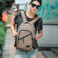 男包休闲包复古帆布双肩包背包中学生书包14寸笔记本电脑包旅行包