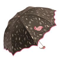 包邮 天堂伞 彩羽飞扬 黑胶遮阳伞 防晒紫外线铅笔伞 波浪伞 三折晴雨伞 55CM/8K 多色可选!