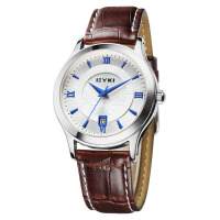 艾奇(EYKI) 石英情侣手表 时尚简约罗马刻度日历显示 潮流真皮男士手表 8705