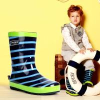 儿童雨靴条纹雨鞋水鞋儿童蓝色帅气海洋风男童水靴