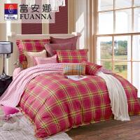[当当自营]富安娜家纺纯棉四件套1.5米1.8米床时尚简约套件 新爱尔兰风情 红色 1.8m