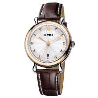 2017新款 EYKI艾奇时尚石英表 韩版休闲 数字金属刻度 日历石英真皮表带手表男表 8706