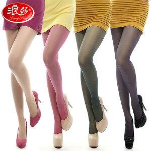 浪莎袜子 浪莎超薄丝袜子 女士超薄包芯丝糖果色加裆连裤袜 打底裤袜 3条