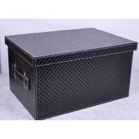 好吉森鹤 /北京线上50元包邮//大号有盖收纳箱整理箱子 收纳箱储物箱资料盒PU文件箱文件盒(50CM长约)/仿皮PU料精品存储盒----------1个+搭送品
