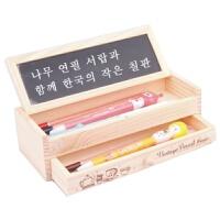 日照鑫 可爱铅笔盒 多功能木制DIY小黑板抽屉文具盒 笔袋 双层木质收纳盒  1个装
