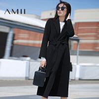 【AMII超级大牌日】[极简主义]2016冬新款纯色长款腰带修身羊毛呢大衣女双面呢